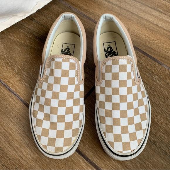 Nude Checkered Slip On Vans Barely Worn